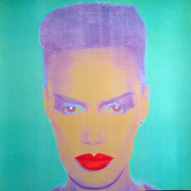 "Andy Warhol Andy Warhol Museum Rare Lmtd Edtn Lithograph Print Monumental Pop Art Poster "" Grace Jones "" 1986 For Sale - Image 4 of 13"