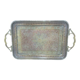 Vintage 1920's Engraved Brass Tray