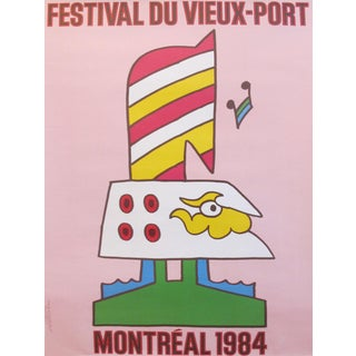 1984 Original Vintage Canadian Poster - Festival Du Vieux-Port 1984 (Pink) For Sale