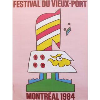 1984 Original Vintage Canadian Poster - Festival Du Vieux-Port 1984 (Pink) For Sale