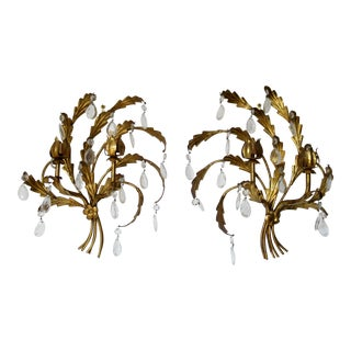 C1960s Vintage Italian Hollywood Regency Gilt Metal Tole & Crystal Teardrop Accented Candelabra Wall Sconces - a Pair For Sale