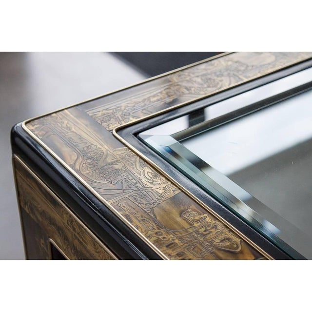 Brass Acid-Etched Brass Coffee Table by Bernhard Rohne for Mastercraft For Sale - Image 7 of 10