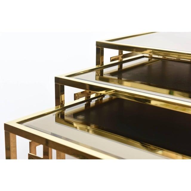 1970s Italian Brass & Glass Greek Key Nesting Tables Final Markdown For Sale - Image 5 of 11