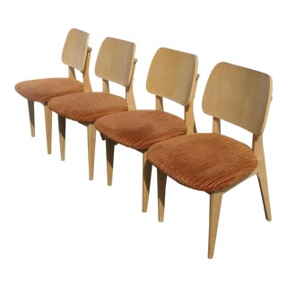 Vintage Mid Century Danish Modern Set of Four Orange Velvet Side Chairs For Sale