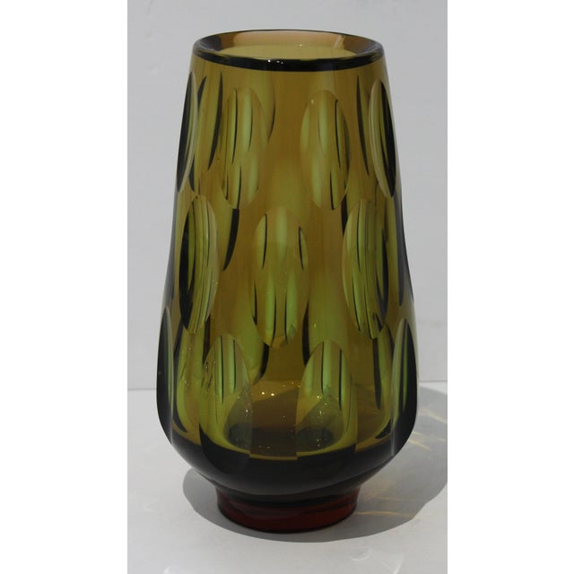 Mid-Century Modern Swedish Vase With Optic Ovals - Smokey Olive Green For Sale - Image 4 of 12