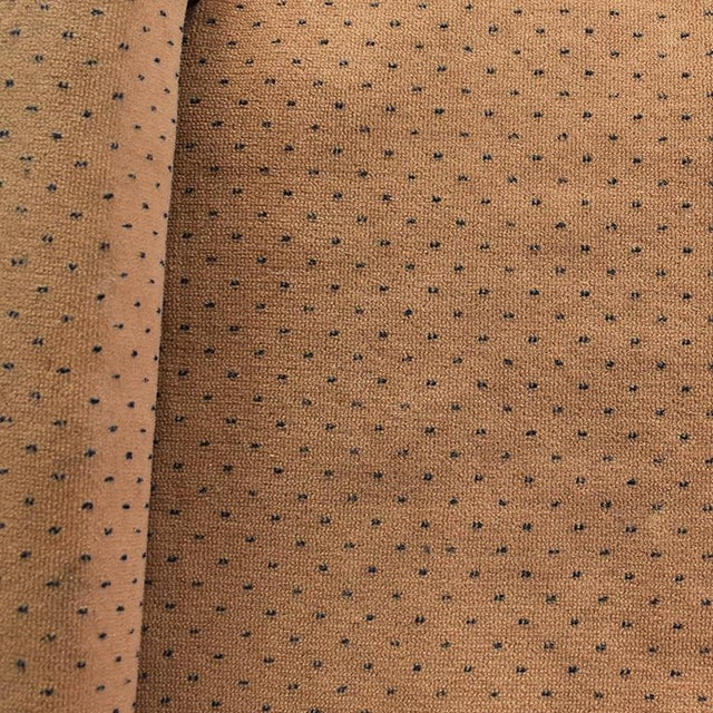 Milo Baughman Mid-Century Modern Milo Baughman Style Tan Swiss Dot Dalmatian Upholstered Parsons Bench For Sale - Image 4 of 6
