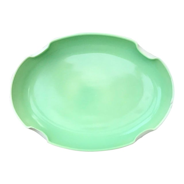 Vintage Mid-Century Mint Green Ceramic Quatrefoil Tray or Dish For Sale