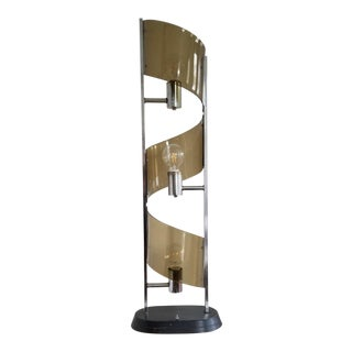 1970s Modern Smoked Lucite Lamp For Sale