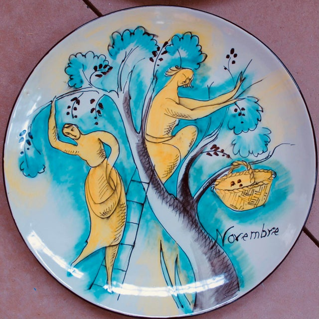 Early 21st Century Set of 12 Italian Maiolica Dinner Plates, Painted With Country Life Scenes For Sale - Image 5 of 13