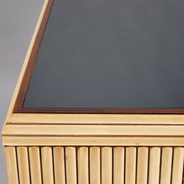 Reeded Maple Cabinet with Rosewood Trim and Black Glass For Sale - Image 9 of 13