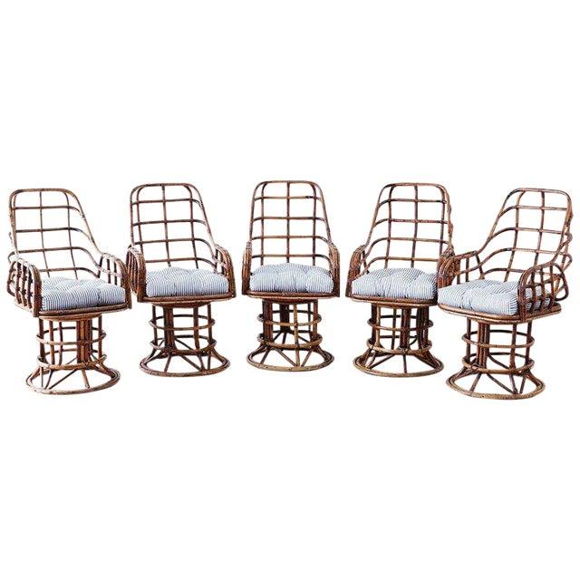 Franco Albini Style Bamboo Rattan Swivel Lounge Chairs For Sale