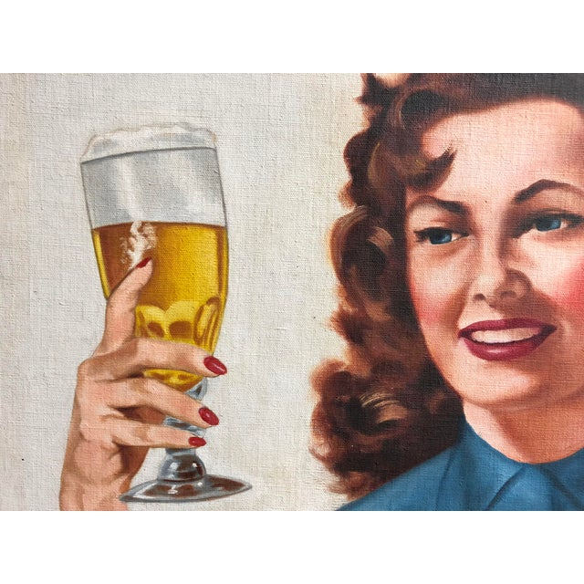 Mid 20th Century Mid Century Illustrator Oil/Canvas of a Woman With Beer For Sale - Image 5 of 8