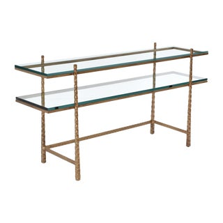 Tuscan Glass and Gold Console Table For Sale