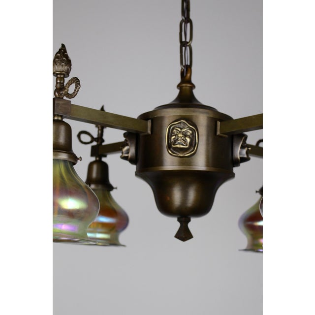 "Arts & Crafts ""Monk Head"" Fixture with Art Glass (4-Light) - Image 8 of 8"
