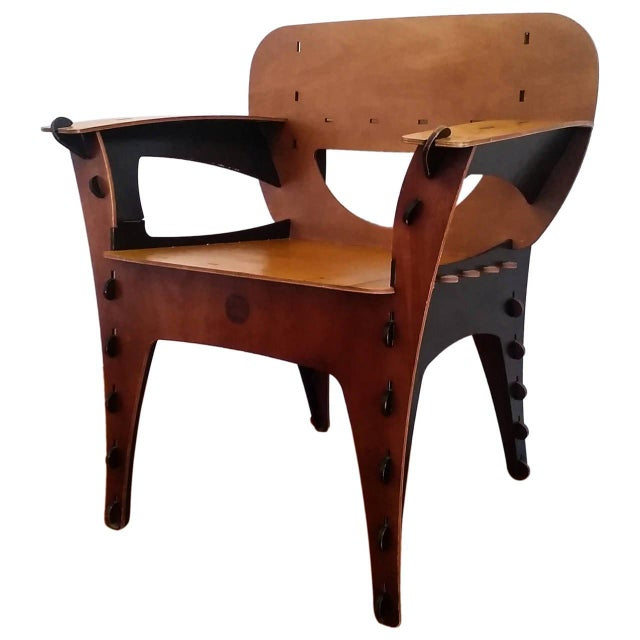 Birch 1990s David Kawecki Modern Puzzle Chair For Sale - Image 7 of 7