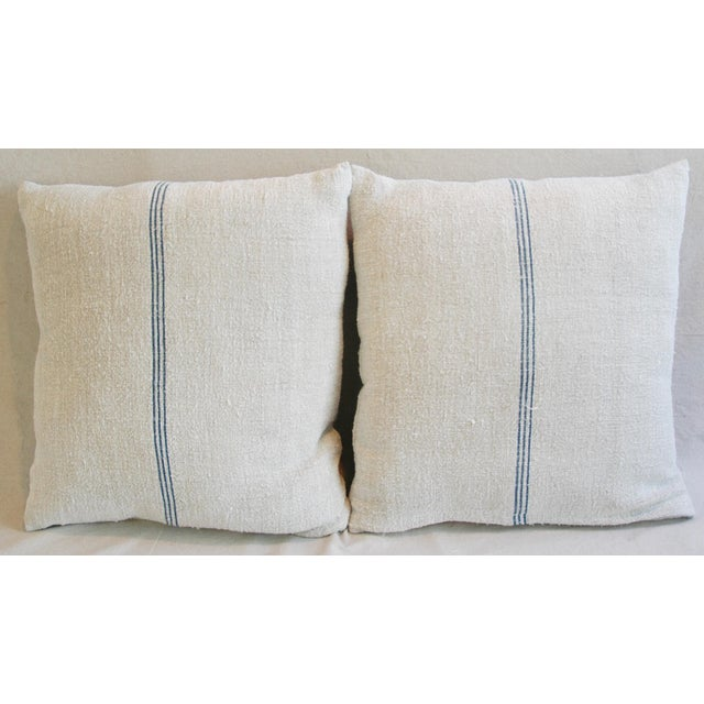 Custom French Grain Sack Down & Feather Pillows - Pair - Image 3 of 9