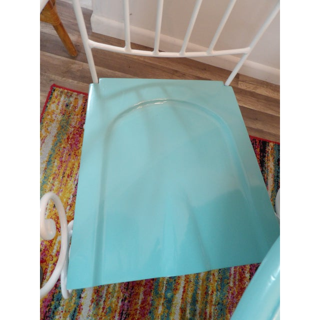 Vintage Turquoise and White Wood & Iron Dining Set For Sale In West Palm - Image 6 of 12