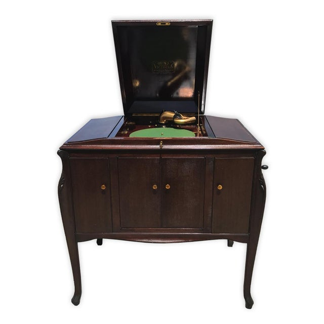 Antique Working Victor Victrola Humpback Console Mahogany Phonograph Record Player - Image 3 of 10