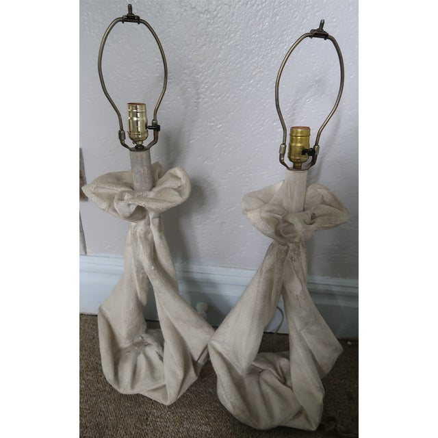 White John Dickinson or Serge Roche Style Plaster Drapery Lamps- a Pair For Sale - Image 8 of 11