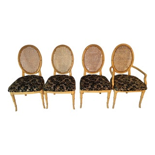 Vintage Faux-Bamboo Dining Chairs - Set of 4 For Sale