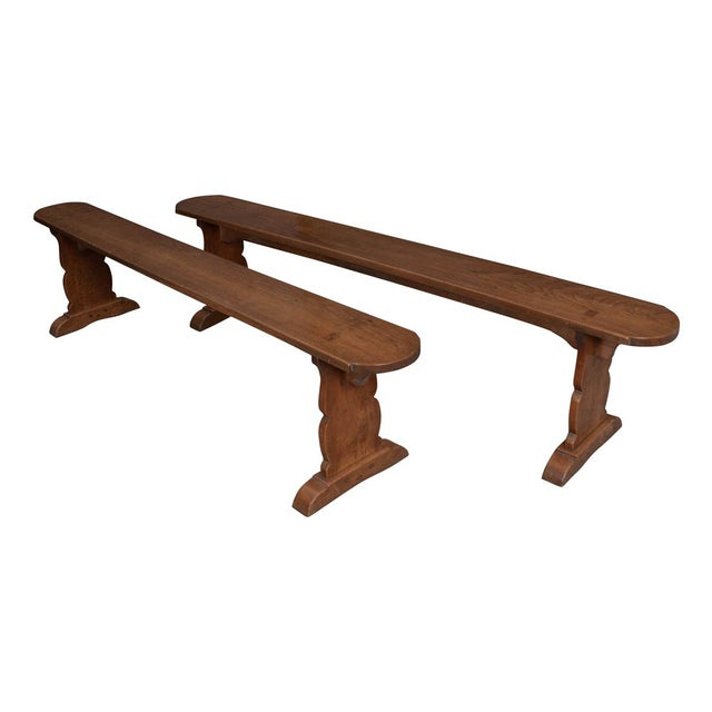 Pair of French 19th Century Provincial Oak Benches For Sale - Image 13 of 13