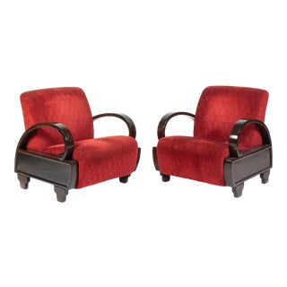 Antique Art Deco Red Upholstery Club Chairs - a Pair For Sale