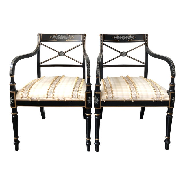 Regency Style Black and Gold Painted Arm Chairs - a Pair For Sale