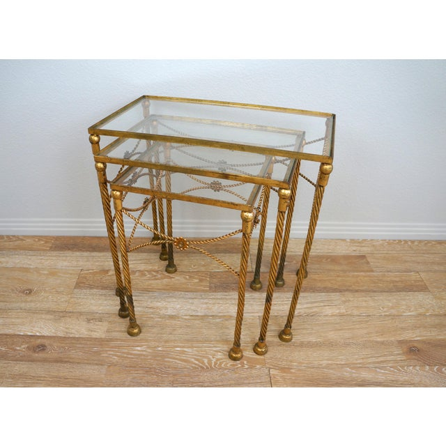 Gold Metallic Nesting Side Tables - Set of 3 - Image 4 of 6