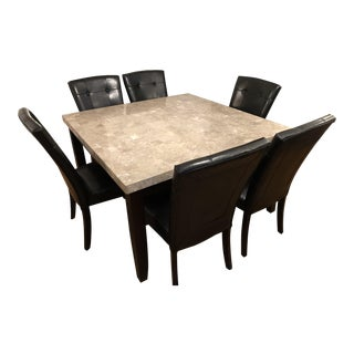 Marble Top Dining Set Table and 6 Chairs For Sale
