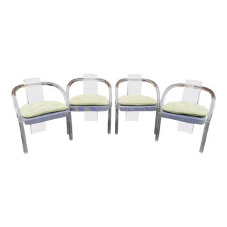 Set 4 1970s Acrylic Lucite Dining Room Armchairs Attributed Charles Hollis Jones For Sale