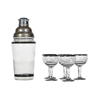 1950s Cocktail Shaker & Glasses - Set of 6 For Sale