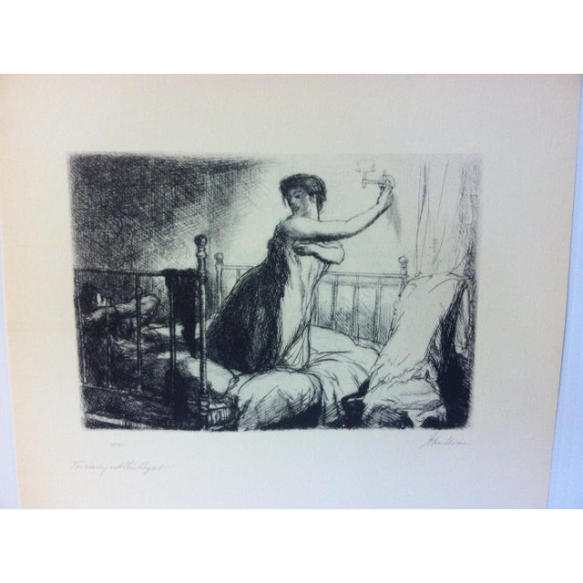 "This is a Simon and Schuster Famous American Print Reproduction that is titled ""Turning Out The Lights"" by John Sloan...."