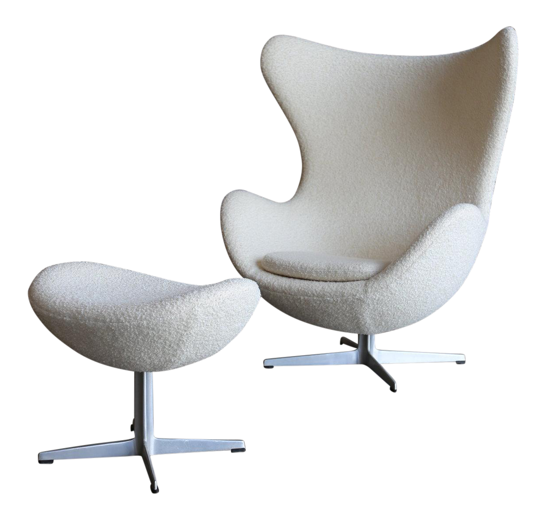 Mid Century Modern Arne Jacobson For Fritz Hansen White Egg Chair And  Ottoman   Set