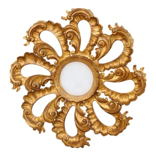 Vintage Italian Carved Giltwood Circular Repeating Petal Wall Mirror For Sale