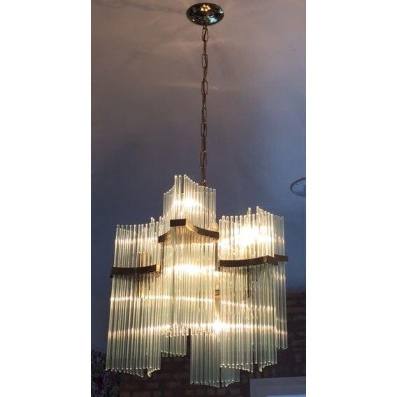 Lightolier Brass & Glass Sciolari Chandelier - Image 5 of 5