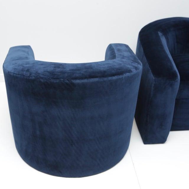 Custom Furniture Builders Pair of Velvet Tub Chairs For Sale - Image 4 of 11