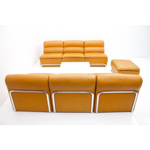 Brown Modular Seating Group & Coffee Table Leather Sofa by Horst Brüning for Kill 1970 For Sale - Image 8 of 12