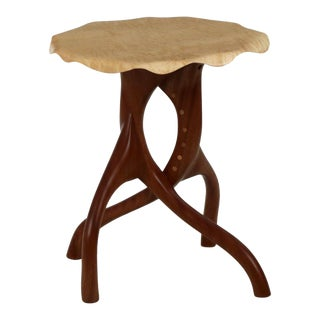 Organic Modern Sculpted Curly Maple and Sapele Side Table For Sale