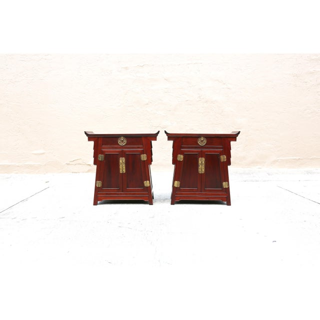 Gold 1980s Chinoiserie Carved Wood Pagoda Sidetables - a Pair For Sale - Image 8 of 13