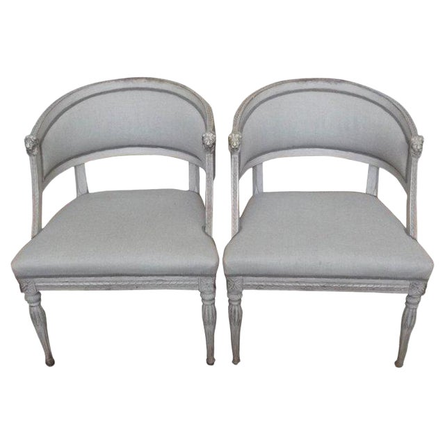 Late 19th Century Lion Head Swedish Gustavian Chairs- A Pair For Sale