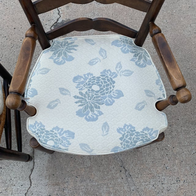 1980s 1980s Vintage French Provincial Ladder-Back Armchairs- a Pair For Sale - Image 5 of 13