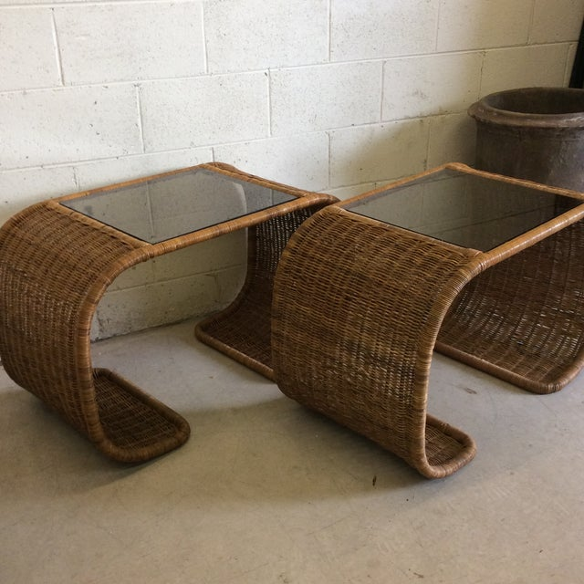 Boho Chic Vintage Wicker Glass Top Waterfall Side Tables - a Pair For Sale - Image 3 of 11