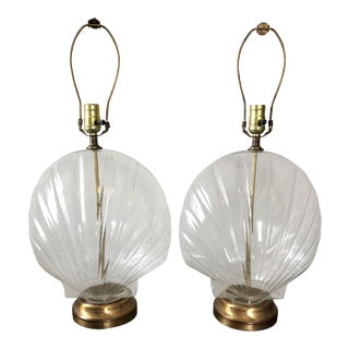 Vintage Glass Shell Form Table Lamps- a Pair