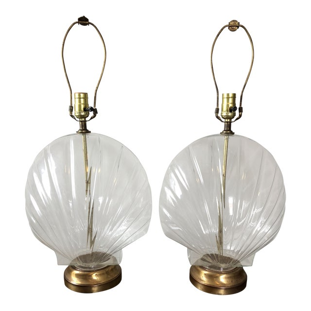 Vintage Glass Shell Form Table Lamps- a Pair For Sale