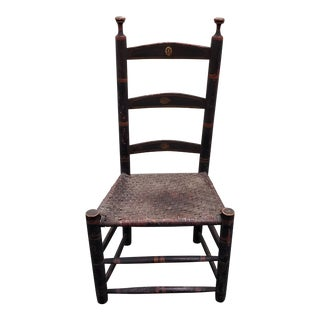 Early 19th Century Carved & Painted Side Chair W/ Woven Seat For Sale