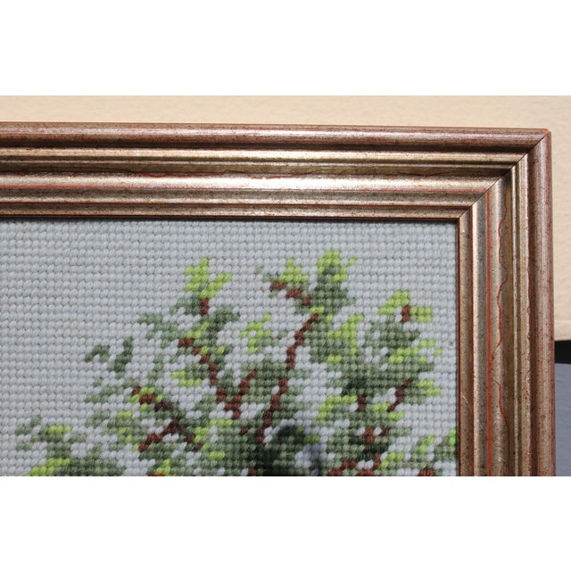 1960s Vintage Framed Country Home Needlepoint For Sale - Image 5 of 10