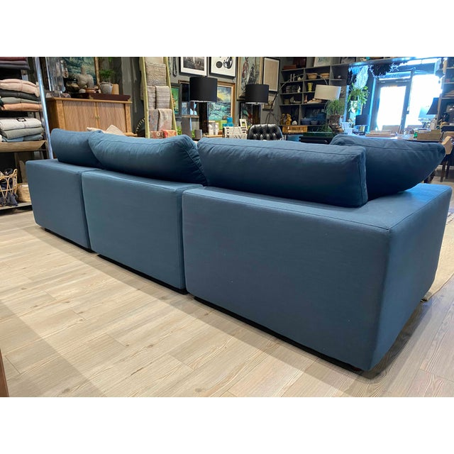 Overstuffed Blue Linen 4 Piece Sectional Sofa For Sale - Image 11 of 13
