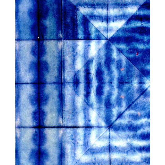 Bright Blue Abstract Artwork - Unframed Print For Sale - Image 4 of 8