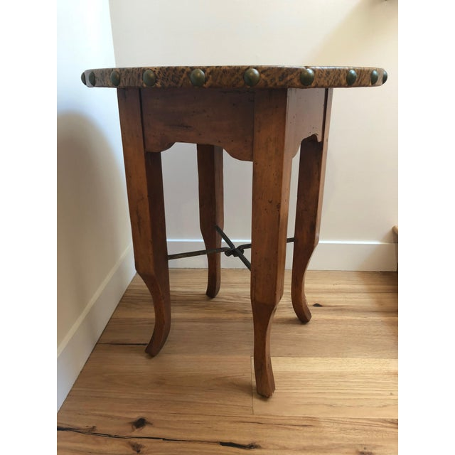 2000 - 2009 Wood and Leather Accent Table For Sale - Image 5 of 5