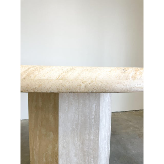 Vintage Postmodern Travertine Marble Round Dining Table For Sale In Palm Springs - Image 6 of 12